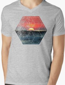 Nature and Geometry - Sunset at Sea Polygonal Design Mens V-Neck T-Shirt