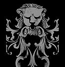 Meditate Lion Heart... Vintage Floral Retro Lion with Heart by Denis Marsili