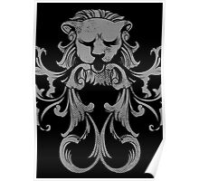 Meditate Lion Heart... Vintage Floral Retro Lion with Heart Poster