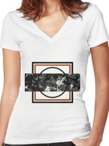 Textured Slice Women's Fitted V-Neck T-Shirt