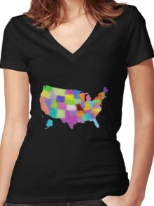 America map in water color Women's Fitted V-Neck T-Shirt