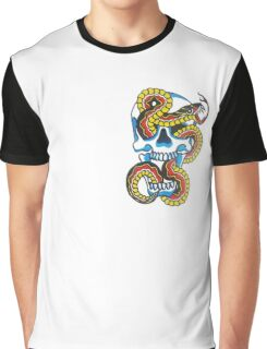 Traditional Tattoo Snake and Skull Graphic T-Shirt