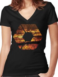 C is for CLOUDS - Geometric Abstract Sunset Geometry Art Women's Fitted V-Neck T-Shirt