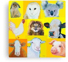 Animal painting collage for nursery wall Canvas Print
