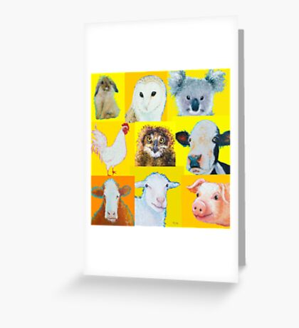 Animal painting collage for nursery wall Greeting Card