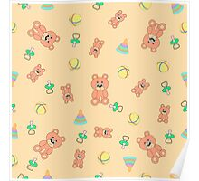 Seamless pattern with toys Poster