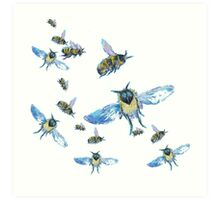 Flying Bees painting on white background Art Print