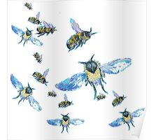 Flying Bees painting on white background Poster
