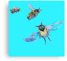 Flying Bees painting on blue background Canvas Print