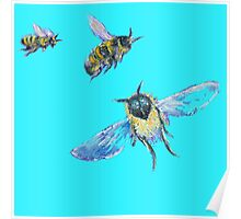 Flying Bees painting on blue background Poster