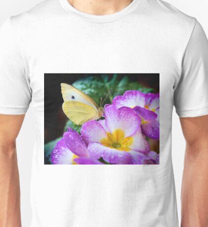 Yellow butterfly on purple flower Unisex T-Shirt