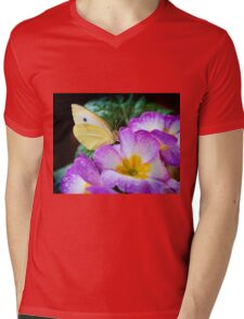 Yellow butterfly on purple flower Mens V-Neck T-Shirt