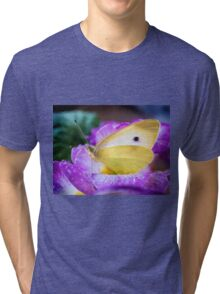 Yellow butterfly on purple flower Tri-blend T-Shirt