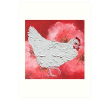 White chicken painting on cherry blossom background Art Print