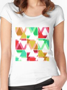 Seamless triangle bright pattern background geometric abstract texture Women's Fitted Scoop T-Shirt
