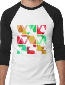 Seamless triangle bright pattern background geometric abstract texture Men's Baseball ¾ T-Shirt