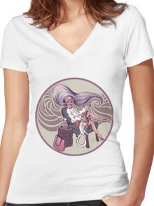 Crazy Cool Cat Lady Women's Fitted V-Neck T-Shirt