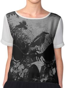 Skull with Crows - Grunge Chiffon Top