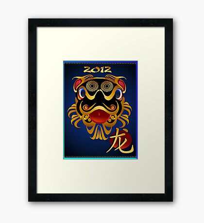 2012 Black 'n Gold Chinese Dragon Face  Framed Print