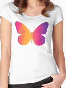 Colorful triangle tropical butterfly Women's Fitted Scoop T-Shirt