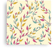 Cute floral pattern with leaves on branches. Canvas Print