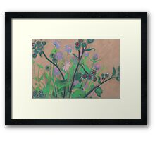 Thistle and clover, soft pastels, life sketch, summer flowers Framed Print