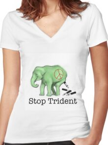 Green Peace Ellie Women's Fitted V-Neck T-Shirt