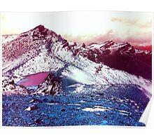 Pink Lake Snow Fall Mountains Poster