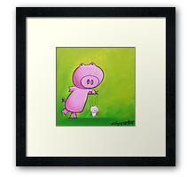 Splatter Puppet Pig Framed Print