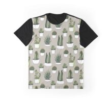 Watercolour Cacti & Succulents - on beige Graphic T-Shirt