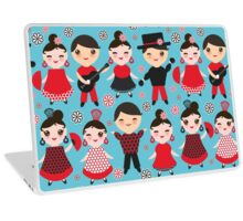 Happy flamencos on blue Laptop Skin