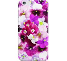 Cute bright pink red trendy organic pansies flowers iPhone Case/Skin