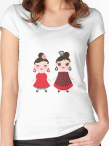 Flamencas in red and black Women's Fitted Scoop T-Shirt