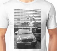 German Mercedes Police Car in front of Russian signboard Unisex T-Shirt