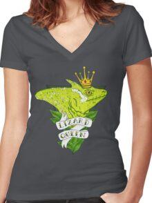 Lizard Queen  Women's Fitted V-Neck T-Shirt