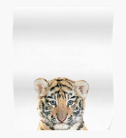 Baby tiger print, Nursery, Animal, Kids room, Minimalist, Modern art, Wall art Poster