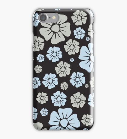 Soft Grey and Blue Flowers iPhone Case/Skin