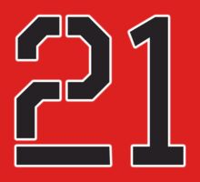 21, TEAM, SPORTS, NUMBER 21, TWENTY ONE, TWENTY FIRST, TWO, ONE, Stencil, Competition,  One Piece - Short Sleeve