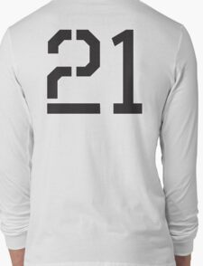 21, TEAM SPORTS, NUMBER 21, TWENTY ONE, TWENTY FIRST, TWO, ONE, Stencil, Competition,  Long Sleeve T-Shirt