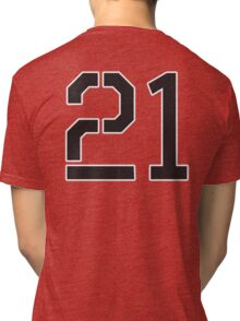 21, TEAM SPORTS, NUMBER 21, TWENTY ONE, TWENTY FIRST, TWO, ONE, Stencil, Competition,  Tri-blend T-Shirt