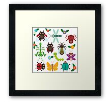 Insects on white Framed Print