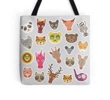 Funny animals on grey Tote Bag
