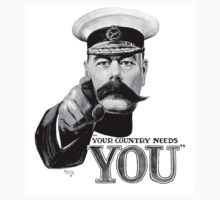 World War One, Lord Kitchener, WW1, Your Country needs you! Recruitment Poster Kids Tee