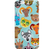 Animal faces on blue iPhone Case/Skin