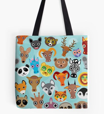 Animal faces on blue Tote Bag