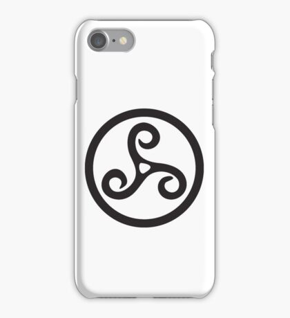 TRISKEL, triskelion or triskele, three, legs, Neolithic, Bronze Age, Iron Age, BLACK iPhone Case/Skin