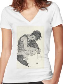 Egon Schiele - Zeichnungen I. 1917  Expressionism Woman Portrait Women's Fitted V-Neck T-Shirt