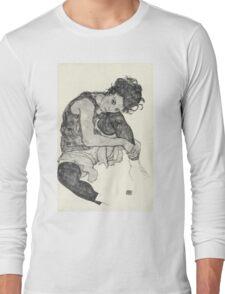 Egon Schiele - Zeichnungen I. 1917  Expressionism Woman Portrait Long Sleeve T-Shirt