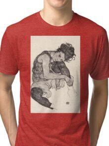 Egon Schiele - Zeichnungen I. 1917  Expressionism Woman Portrait Tri-blend T-Shirt