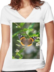 Red Admiral Butterfly Women's Fitted V-Neck T-Shirt